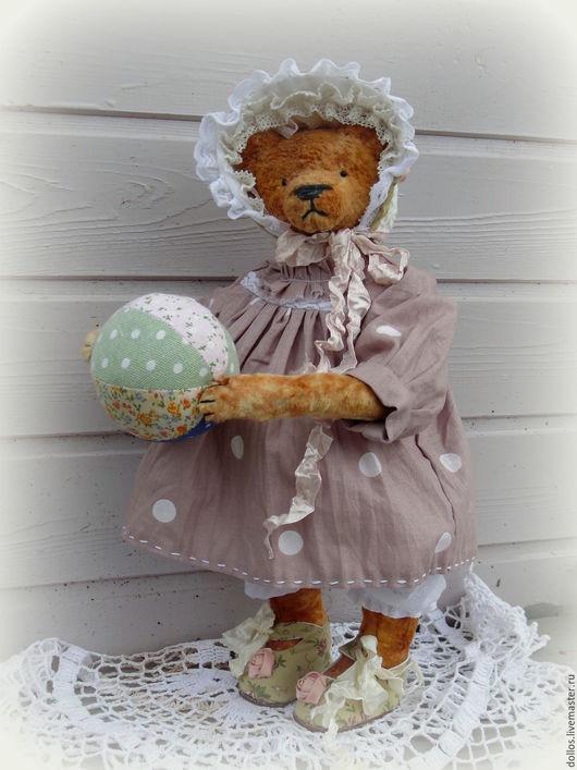 Мишки Тедди ручной работы. Ярмарка Мастеров - ручная работа. Купить Лялечка. Handmade. Кремовый, платье, ткань