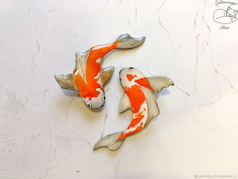 Brooch ' Bright orange Japanese koi carp, white, fish fish', Brooches, Bryukhovetskaya,  Фото №1
