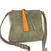 Классическая сумка ручной работы. Ярмарка Мастеров - ручная работа Malta Olive. Маленькая оливковая сумочка из замши и кожи. Handmade.