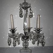 Винтаж handmade. Livemaster - original item Crystal 50 cm three horns candlestick mid 20th century Czechoslovakia. Handmade.