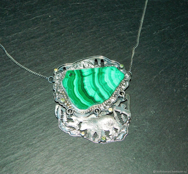 Pendant 'Master of the Copper Mountain' Silver, malachite, citrines, garnets, Pendant, Ekaterinburg,  Фото №1