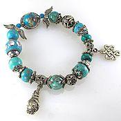 Украшения handmade. Livemaster - original item Б35 Bracelet turquoise with Turkmenistan and Tibetan symbols.. Handmade.