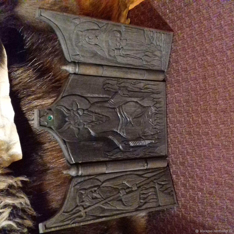 Резная черная икона Адова Троица.Сатана,Верзаул,Велигор, Ритуальная атрибутика, Тверь,  Фото №1