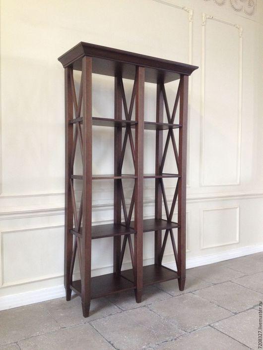 Высокий стеллаж-библиотека с открытыми полками и декором из перекрещенных деталей. Разница в цвете, размерах, материалах возможна, благодаря ручной работе.