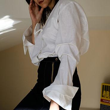 Одежда ручной работы. Ярмарка Мастеров - ручная работа Рубашки: Белая хлопковая рубашка. Handmade.