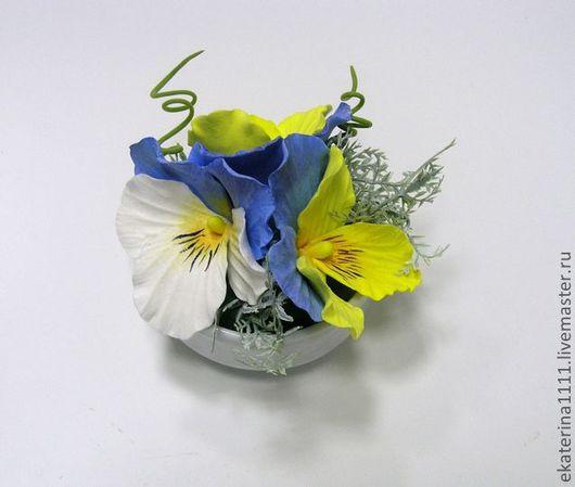 Интерьерные композиции ручной работы. Ярмарка Мастеров - ручная работа. Купить Голубые анютины глазки (мини). Handmade. Голубой, желтый
