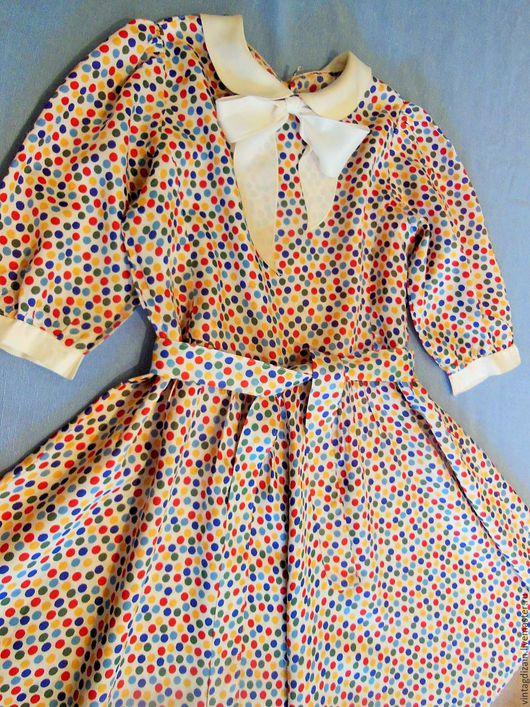 Одежда. Ярмарка Мастеров - ручная работа. Купить Платье винтаж атлас для девочки. Handmade. Украшение, винтажный стиль, праздничное платье