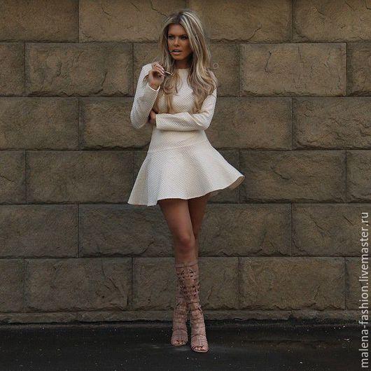 Платья ручной работы. Ярмарка Мастеров - ручная работа. Купить Платье офисное (повседневное). Handmade. Белый, платье коктейльное