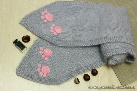 шарф с кошачьими лапками, вязаный шарф, шарф женский, шарф детский, теплый вязаный шарф, шарф с лапками