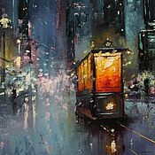 Картины и панно handmade. Livemaster - original item 16x16`` Original Oil Painting. Night Tram.. Handmade.