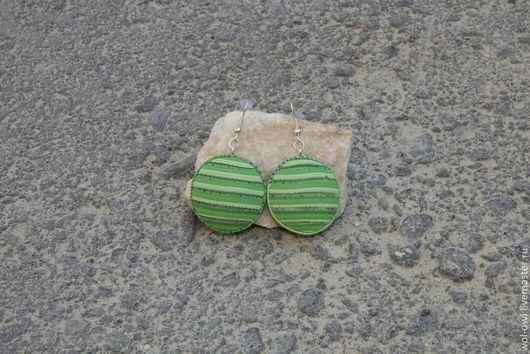 """Серьги ручной работы. Ярмарка Мастеров - ручная работа. Купить Серьги """"Матрасики"""". Handmade. Зеленый, полимерная глина fimo"""