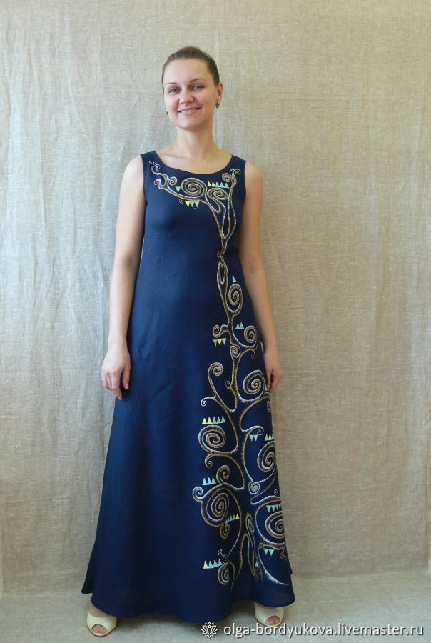 Платье льняное - ручная роспись : Дерево, Платья, Смоленск,  Фото №1