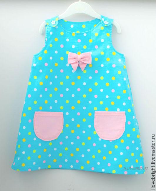 Одежда для девочек, ручной работы. Ярмарка Мастеров - ручная работа. Купить Нарядное платье для девочки из вельвета. Handmade. Голубой