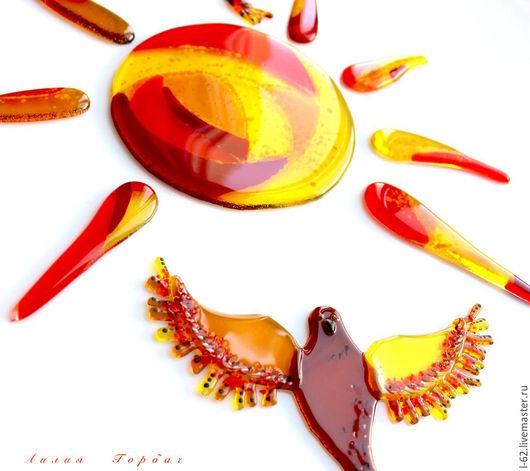 Элементы интерьера ручной работы. Ярмарка Мастеров - ручная работа. Купить декор из стекла, фьюзинг Птицы. Handmade. Оранжевый, Декор