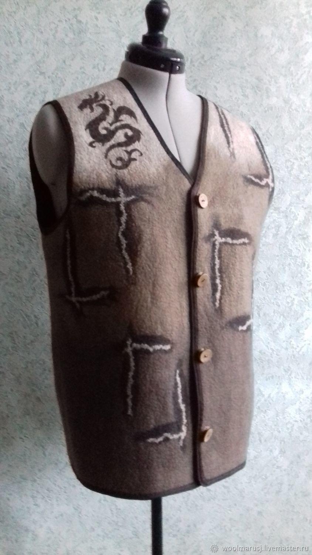 Жилет мужской валяный два в одном Путешествие в Поднебесную, Жилеты, Барнаул, Фото №1