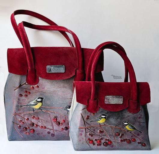"""Женские сумки ручной работы. Ярмарка Мастеров - ручная работа. Купить Кожаная сумка """"Синички"""". Handmade. Бордовый, сумка"""
