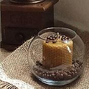 Сувениры и подарки ручной работы. Ярмарка Мастеров - ручная работа Свеча медовая в стеклянной вазе - кофейный аромат - свеча из вощины. Handmade.
