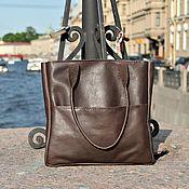 Классическая сумка ручной работы. Ярмарка Мастеров - ручная работа Кожаная сумка женская коричневая натуральная кожа. Handmade.