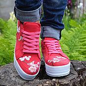 Обувь ручной работы. Ярмарка Мастеров - ручная работа женские  джинсовые слипоны. Handmade.