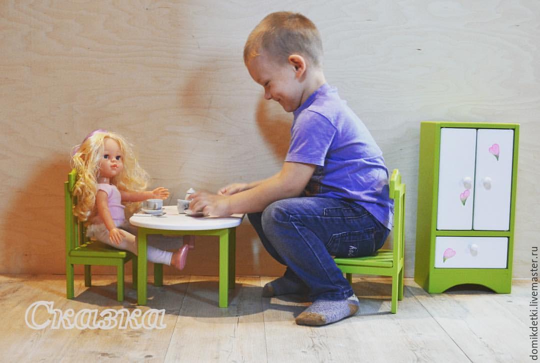 Купить Мебель для больших кукол - мебель для кукол, стол для куклы, стул для куклы, шкаф для кукол