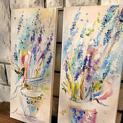 handmade. Livemaster - original item Master class: oil painting on two canvases. Handmade.