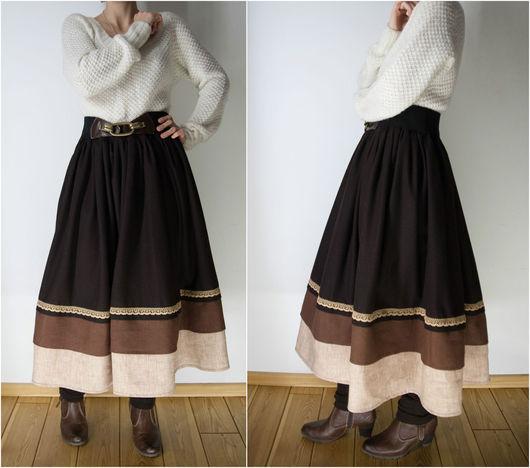 Юбки ручной работы. Ярмарка Мастеров - ручная работа. Купить Шерстяная юбка с льняными оборками. Handmade. Коричневый, теплая юбка