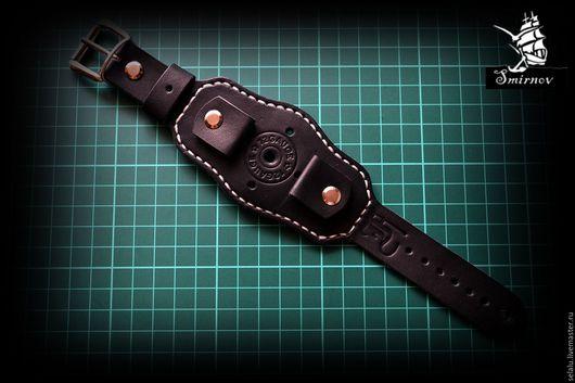 Украшения для мужчин, ручной работы. Ярмарка Мастеров - ручная работа. Купить Ремешок на наручные часы из натуральной кожи.. Handmade. Черный