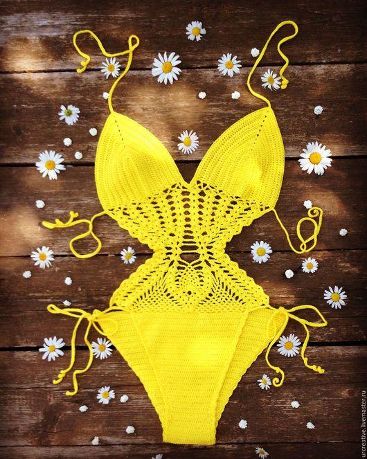 Слитные купальники ручной работы. Ярмарка Мастеров - ручная работа. Купить Вязаный купальник ярко-желтого цвета. Handmade. Желтый