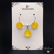 Jewelry Sets handmade. Livemaster - original item Set with yellow Swarovski crystals, Swarovski Earrings and pendant. Handmade.