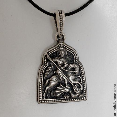 Кулоны, подвески ручной работы. Ярмарка Мастеров - ручная работа. Купить Кулон серебряный с изображением Св. Георгия, убивающего дракона. Handmade.