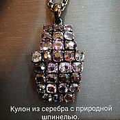Украшения handmade. Livemaster - original item Spinel stone pendant on silver. Dark purple tones. Handmade.