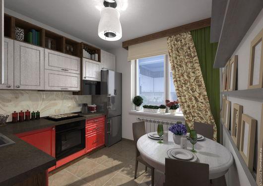 Дизайн интерьера кухни в 3х комнатной квартире. ЖК Микрогород в лесу. Мария Шанина. Ярмарка Мастеров.