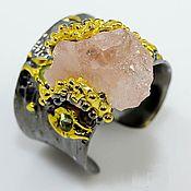 Украшения handmade. Livemaster - original item Silver ring with natural morganite and chrysolite. Handmade.