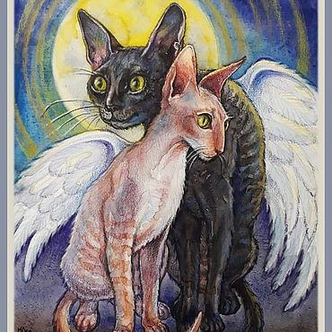 """Картины и панно ручной работы. Ярмарка Мастеров - ручная работа """"Лунные коты"""". Handmade."""