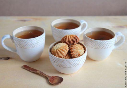 Кружки и чашки ручной работы. Ярмарка Мастеров - ручная работа. Купить Чайный набор. Handmade. Белый, пиала ручной работы