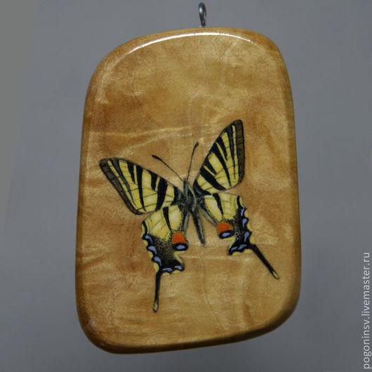 """Кулоны, подвески ручной работы. Ярмарка Мастеров - ручная работа. Купить кулон """"Бабочка"""". Handmade. Березовый кап, кулоны, подвески"""