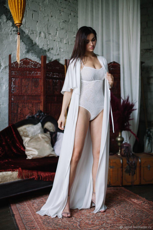 1745df44c8 Underwear   Pajamas handmade. Livemaster - handmade. Buy Long Silk Bridal  Robe F30