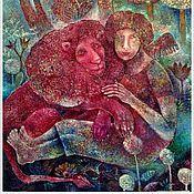 """Картины и панно ручной работы. Ярмарка Мастеров - ручная работа """"Ангел и лев"""" Холст, масло.. Handmade."""