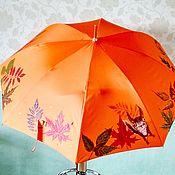 Аксессуары handmade. Livemaster - original item Umbrella cane orange Autumn, leaves, squirrel. Painting on fabric.. Handmade.