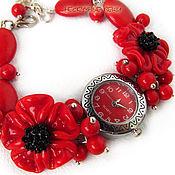 """Украшения ручной работы. Ярмарка Мастеров - ручная работа """"Красные маки"""" наручные часы с бусинами лэмпворк. Handmade."""
