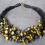 Украшения handmade. Livemaster - original item Beads Dijon mustard, yellow multi-row black cord lush beads. Handmade.