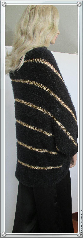 Кофты и свитера ручной работы. Ярмарка Мастеров - ручная работа. Купить Кофта- накидка черная с золотом пушистая. Handmade. Черный