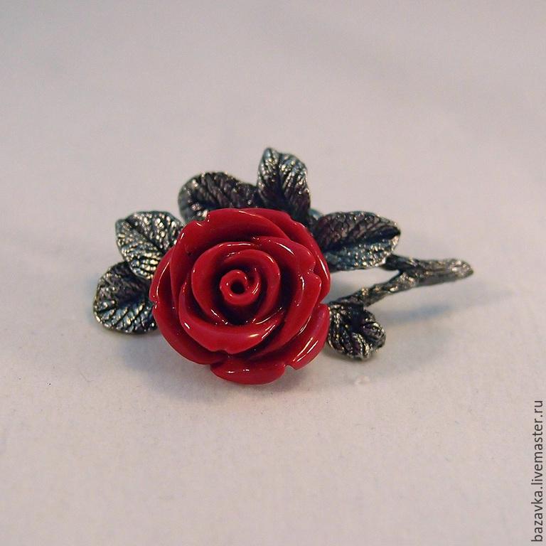 """Броши ручной работы. Ярмарка Мастеров - ручная работа. Купить Серебряная брошь """"Красная роза"""". Handmade. Серебро, подарок"""