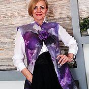 """Одежда ручной работы. Ярмарка Мастеров - ручная работа Жилет валяный  удлиненный """"Фиолетовые сны""""+ брошь. Handmade."""
