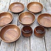 Наборы посуды ручной работы. Ярмарка Мастеров - ручная работа Посуда из ясеня, тонированная. Handmade.