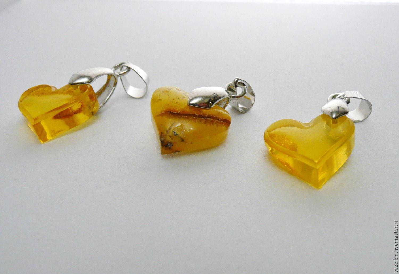 Amber pendant 'Heart' 457, Pendants, Svetlogorsk,  Фото №1