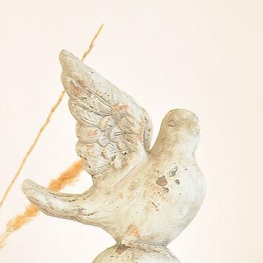 Для дома и интерьера ручной работы. Ярмарка Мастеров - ручная работа Голубь на колонне из бетона, статуэтка для дома и сада Прованс, Винтаж. Handmade.