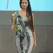 Одежда ручной работы. Ярмарка Мастеров - ручная работа Серое платье с объемными розами. Handmade.