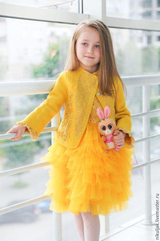 Одежда для девочек, ручной работы. Ярмарка Мастеров - ручная работа. Купить Куртка валяная  yellow azalea. Handmade. Лимонный