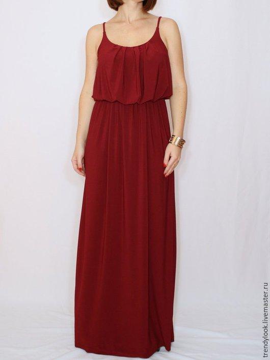 Платья ручной работы. Ярмарка Мастеров - ручная работа. Купить Бордовое платье летний сарафан на бретельках. Handmade. Однотонный, handmade